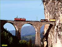Landwasser viaduct with freight train